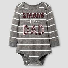 Baby Boys' Long-Sleeve Strong Stripe Bodysuit Grey/White - Cat & Jack Baby™