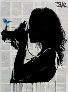 Buy vintage, a Ink on Paper by LOUI JOVER from Australia. It portrays: Women, relevant to: louijover, jover, bird, camera, collage, bookpages ink/collage on vintage book pages adhered together to make one sheet ready for framing as desired