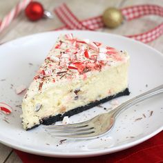 White chocolate peppermint bark cheesecake. From Tracey's Culinary Adventures.