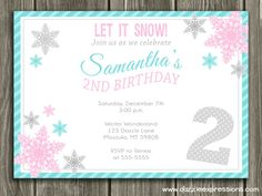 Screen shot 2011 08 01 at 124557 pm birthday parties pinterest printable pink and teal snowflake birthday party invitation girls winter birthday party free thank you card filmwisefo