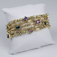 Seidengang Classic Collection 5 Row Tourmaline Amethyst Garnet 18K Gold Bracelet - http://elegant.designerjewelrygalleria.com/seidengang/seidengang-classic-collection-5-row-tourmaline-amethyst-garnet-18k-gold-bracelet/