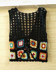 diy_crafts- Granny Square Crochet Vest Tie Front by on Etsy Cardigan Au Crochet, Crochet Jacket Pattern, Gilet Crochet, Black Crochet Dress, Crochet Crop Top, Crochet Cardigan, Knit Crochet, Crochet Patterns, Crochet Tops