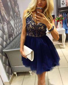 P47 Sukienka Tiulowa + Koronka Granat, LUXURY MAGNETIC
