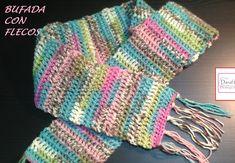 Bufanda con flecos a crochet o ganchillo para principiantes. Diestros