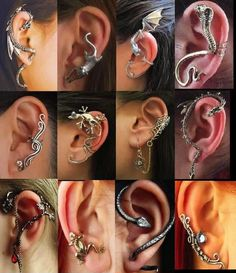 , Funky snake and reptile ear-cuffs, fascinating fashion accessories. , Funky snake and reptile ear-cuffs, fascinating fashion accessories. Origin of this collection unknown. Ear Jewelry, Cute Jewelry, Body Jewelry, Jewelery, Jewelry Accessories, Fashion Accessories, Jewelry Necklaces, Jewelry Making, Charm Bracelets