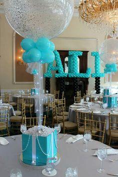 tiffany themed centerpiece tiffany themed bat mitzvah with tiffany box centerpieces sparkle balloons