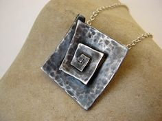 Square Spiral Pendant Sterling silver Antiqued by metalmorphoz,