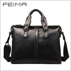 """100% GENUINE LEATHER cowhide Shoulder leisure men's bag business messenger portable briefcase Laptop large Purse 14"""" Handbag-inBriefcases fr..."""