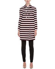 Rue La La — Valentino Navy & Red Stripe Double-Breasted Coat