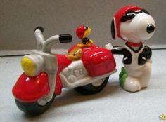 Snoopy Biker w Motorcycle Woodstock Salt Pepper Shakers WG | eBay
