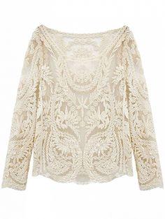 White Crochet Lace Mesh Long Sleeve Blouse Dresses #Tops #Swimwear #Jeans #Jackets #Skirts #Shoes