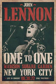 1972 John Lennon Concert Poster — One to One @ Madison Square Garden
