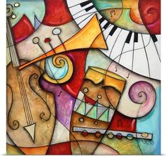 New 'Jazz Makers II' by Eric Waugh Painting Print by Great Big Canvas Wall Art Decor. Fashion is a popular style Framed Wall Art, Canvas Wall Art, Canvas Prints, Big Canvas, Canvas Size, Framed Canvas, Canvas Fabric, Arte Van Gogh, Arte Pop