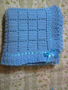 Crochet Baby Blue Blanket With White Edg - Diy Crafts - Marecipe Baby Afghan Crochet, Baby Afghans, Afghan Crochet Patterns, Diy Crafts Crochet, Easy Crochet, Crochet Shell Stitch, Crochet For Boys, Crochet Designs, Baby Knitting