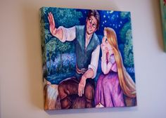 Tangled Rapunzel Princess Flynn Ryder wall art wall decor baby nursery 10x10 12x12 16x16 20x20 on Etsy, $30.00