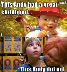 Toy Story Andy had a great childhood. Child's Play Andy did not. Funny Horror, Horror Films, Horror Icons, Netflix Horror, Horror Villains, Funny Meme Pictures, Funny Memes, It's Funny, Funny Laugh