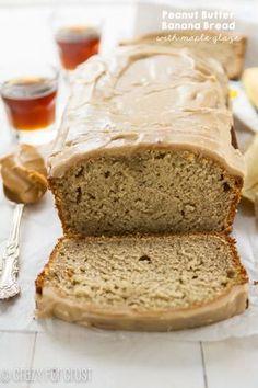 Peanut Butter Banana Bread with maple glaze @crazyforcrust