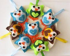 Set 8 Mini Felt owls plush toys