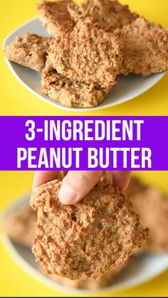 3 ingredient peanut butter cookie recipe that's full of whole foods. Naturally free of eggs, dairy, wheat, flour and gluten vegan healthy healthyrecipe cookies healthytreat 570690584033068524 Peanut Butter Cookies 3 Ingredient Recipe, Healthy Peanut Butter Cookies, Peanut Butter Toast Ideas, Healthy Banana Cookies, Healthy Breakfast Cookies, 3 Ingredient Banana Cookies, Healthy Cookies For Kids, Banana Bread, Peanut Butter Banana Cookies