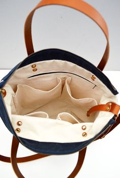 Navy & Tan waxed canvas baby diaper bag nappy bag by ForestBags