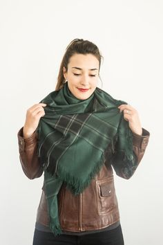 Green Blanket Scarf Gift For Her Gift for Women Girlfriend by Urbe