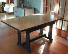 Industrial Work Table with Vintage Dictionary Top - Guest Post by Hammer Like a Girl - Pretty Handy Girl # home work table Industrial Work Table with Vintage Dictionary Top - Guest Post by Hammer Like a Girl Ikea Table Tops, Craft Table Ikea, Diy Table Top, Furniture Projects, Home Projects, Diy Furniture, Furniture Refinishing, Recycled Furniture, Furniture Makeover