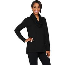 Kelly by Clinton Kelly Brushed Back Jersey Tunic w/ Removable Scarf