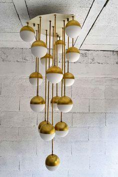 Planetary Brass & Glass Chandelier ~ by Stilnovo, Italy, 1965 (mid century modern light fixture) Home Lighting, Modern Lighting, Lighting Design, Industrial Lighting, Modern Industrial, Lighting Ideas, Industrial Design, Glass Chandelier, Chandeliers