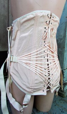 f1016a768b2 Vtg Gale Long Lace Up 4 Gartars Boned Corset Girdle Cinch Steampunk Back  Support  Gale