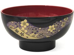 Red, Black and Purple Cherry Blossom Lacquer Bowl