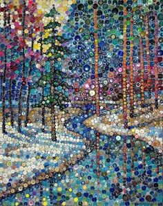 Winter landscape done in buttons. This would also look wonderful done in Mosaic glassRock brooches or badge are jewelry items that are mounted towards the outfit, and can be adorned to decorate shirts or essential accessories.Search for Rock Badge & Brooc Diy And Crafts, Arts And Crafts, Vintage Jewelry Crafts, Jewelry Art, Bottle Cap Art, Button Picture, Dot Art Painting, Mosaic Projects, Diy Projects