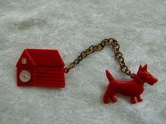 1920s Red Celluloid Dog & Barn Chatelaine Brooch