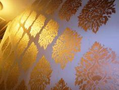 DIY - Stenciled walls using metallic spray paint!!!