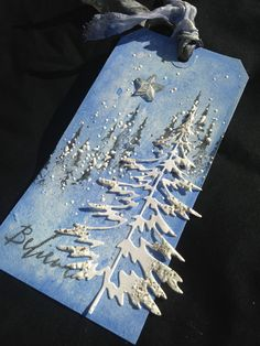 https:// cards using tim holtz woodland dies Christmas Paper Crafts, Homemade Christmas Cards, Christmas Tree Cards, Xmas Cards, Christmas Greetings, Homemade Cards, Greeting Cards, Handmade Gift Tags, Holiday Gift Tags