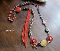Copper and Circles Necklace suede tiger eye  Czech by DatzKatz, $33.00