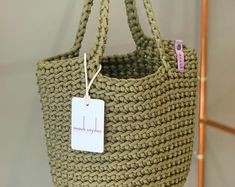 Etsy :: Your place to buy and sell all things handmade Crochet Tote, Crochet Handbags, Cotton Cord, Tote Bags Handmade, Leather Accessories, Bag Making, Lana, Etsy, Gifts