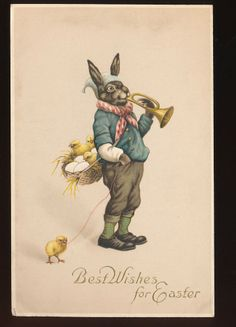 Dressed RABBIT with Horn & Chicks Antique Easter Postcard-kkk808