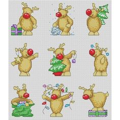 Rudolph Christmas Card Cross Stitch Patterns
