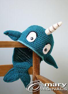 Narwhal chapeau bonnet Crochet baleines poissons par MaryOriginals