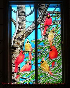 Faux-vitrail Cardinal Vitrail Cardinal, Stained Glass Patterns, Recherche Google, Painting Inspiration, Glass Art, Glass Beads, Mosaic, Projects To Try, Photos
