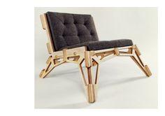 Gustav Düsing - Chair 23D    Materials:  18mm Birch-Plywood  Cushions (Fabric, Foam, 3mm Birch-Plywood)