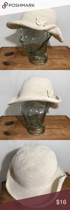 Cotton Straw Crushable Hat W/Flower Embellishment Women's 100% Cotton Straw Crushable Hat with Flower Embellishment Ivory  One Size fits most   Please see photos as we do consider them to be a part of the description. Accessories Hats