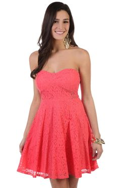 #coral all over #lace sweetheart strapless fit and flare skater dress  $32.50