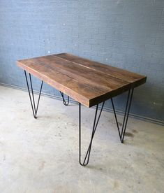 This our new custom hairpin desks 60 mm thick reclaimed timber top We offer different styles of hairpin We make custom furniture for homes, bars