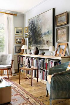 At Home: Art for Arts Sake - Sotheby's Tim Ellis Collection Sale Twentieth Century Art – Art & Auction News (houseandgarden. Interior Design, House Interior, Home, Low Bookcase, Room Design, Room Decor, Living Room Decor, Home And Living, Home Art