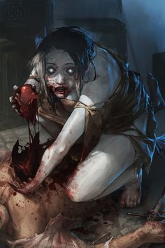 A ravenous 'ghoul' eats the warm innards of its victim... until someone else catches its attention.
