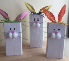 Wooden Bunnies,Wood Block Bunny, 2x4 Bunny, Easter Decor, Bunny Decor, Bunny Family, Wooden Bunny, Easter Block Set, Set of 3, CAN CUSTOMIZE by FineCraftyGoods on Etsy