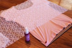 Use lace and spray dye to decorate a t-shirt. Easy and fun for tween and teen girls!