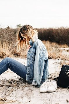 Denim summer spring style fashion fall winter hair jean jacket jeans outdoors