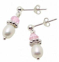 £14.95  Freshwater Pearls & Pink crystal Silver Earings
